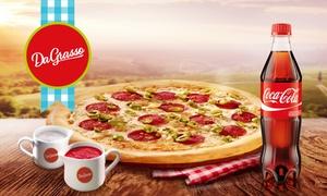 Da Grasso: Dowolna duża pizza z sosami i napojem Coca-Cola od 22,99 zł w Da Grasso – 2 lokalizacje (do -47%)