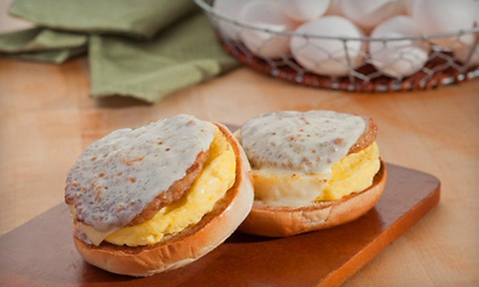 B2 Café - Timberlane Park Centre: Five Breakfast Sandwiches or $7 for $14 Worth of Bagel and Sandwich Fare at B2 Café