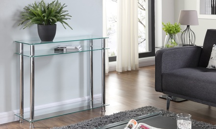 Eldon Glass and Chrome Console Table in Choice of Colour