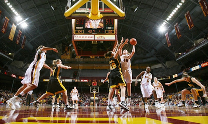 Minnesota Golden Gophers Women's Basketball - University: $25 for Two Tickets to Minnesota Gophers Women's Basketball Game at Williams Arena on February 13 or 16, Plus $20 Worth of Casual Fare at Campus Pizza ($50 Value)