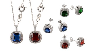 2-piece Crystal Earrings And Pendant Birthstone Set Made With Swarovski Elements