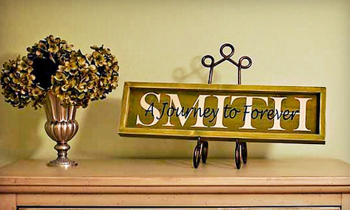 "All Aboard: $29 for a Personalized 6""x24"" Signboard or Six Single-Letter Sign Blocks from All Aboard ($80 Value)"