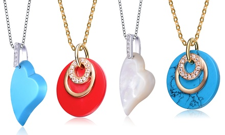 Heart or Disc-Shaped Pendants with Cubic Zirconia Accents