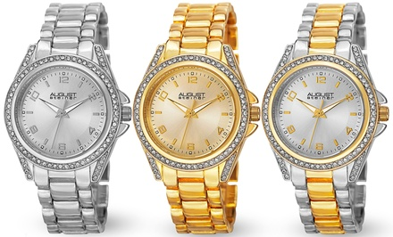 August Steiner Women's Crystal-Bezel Bracelet Watch