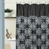 13-Piece Swirl Jacquard Shower Curtain and Metal Hook Set