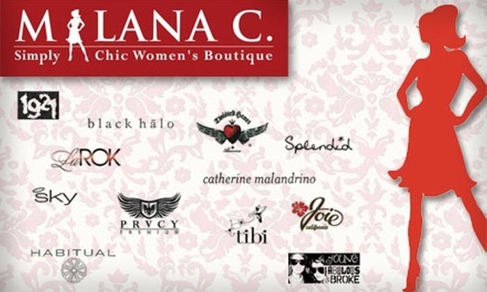 Milana C. - Downtown Menlo Park: $50 for $125 Worth of Designer Fashion at Milana C. Boutique