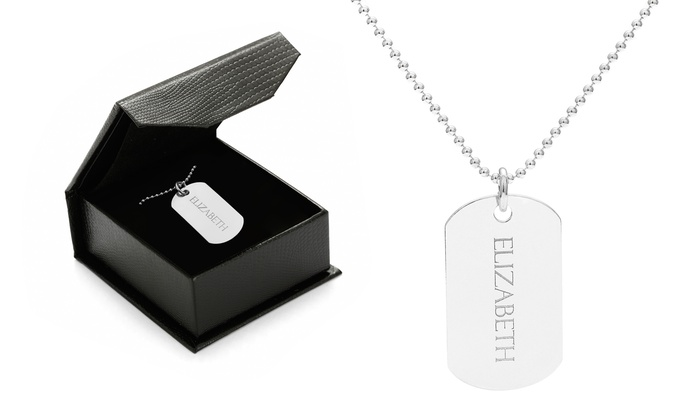 SilvexCraft: One or Two Custom Engraved Dog Tag Pendant from Jewells House (Up to 75% Off)