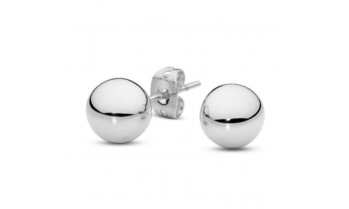 Solid 14K White Gold Ball Studs | Groupon Goods