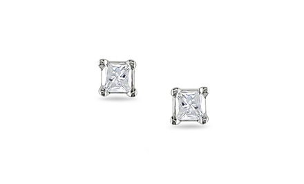 0.10 CTW Princess-Cut Diamond Stud Earrings in Sterling Silver by Amour