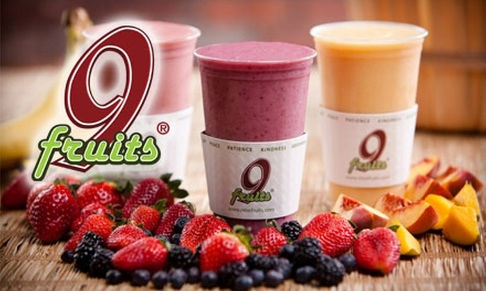 9 Fruits - Franklin: $5 for Two Medium Smoothies from 9 Fruits