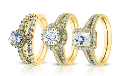 14-Karat Gold-Plated Two-Piece Cubic Zirconia Rings. Multiple Styles Available.