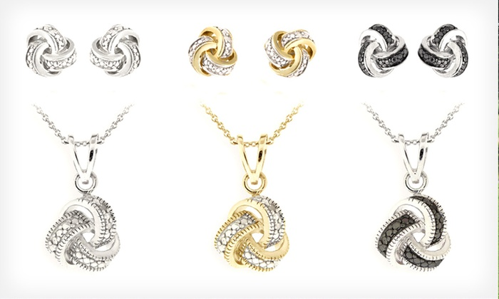 Diamond Love Knot Jewelry: Diamond Love Knot Earrings or Necklace (Up to 85% Off). Multiple Options Available. Free Returns.