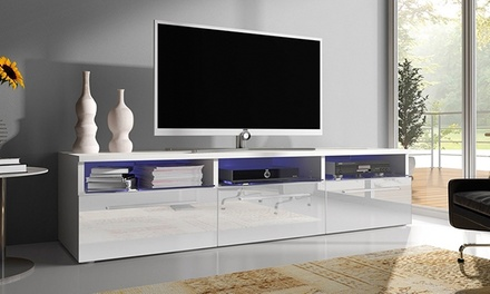 meuble tv laqu avec led groupon. Black Bedroom Furniture Sets. Home Design Ideas
