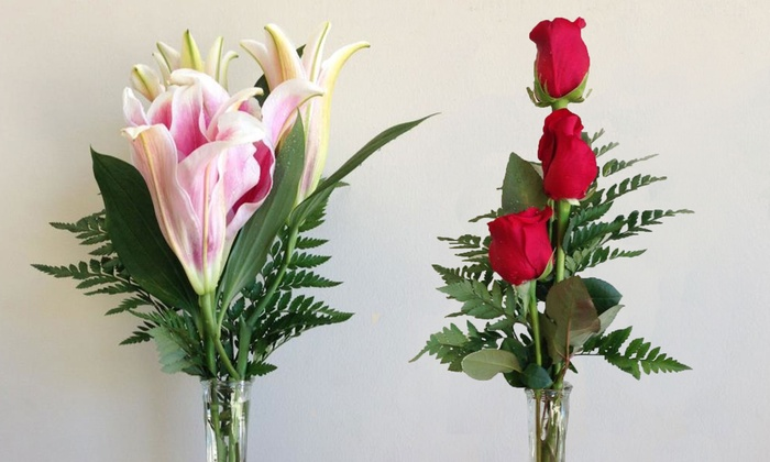 America's Beautiful Florist - Central Rockville: Roses and Lilies in Vase at America's Beautiful Florist (Up to 50% Off). Two Options Available.