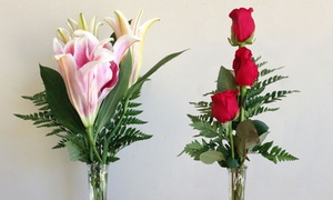 America's Beautiful Florist: Roses and Lilies in Vase at America's Beautiful Florist (Up to 50% Off). Two Options Available.