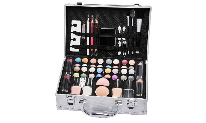 58 piece cosmetic vanity case groupon. Black Bedroom Furniture Sets. Home Design Ideas