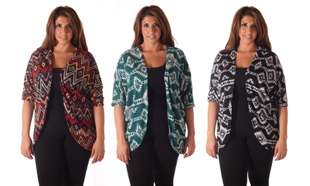 Women's Plus-Size Printed Cardigans