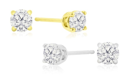 0.33 CTTW Natural Genuine Diamond Stud Earrings In 14K White or Yellow Gold