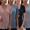 Women's Short Sleeve Pleated V-Neck Top with Necklace