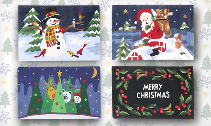 Momeni Holiday Rugs: $10 for a Jolly Trees, Merry Christmas, Santa Chimney, or Snowman Rug ($50 List Price)