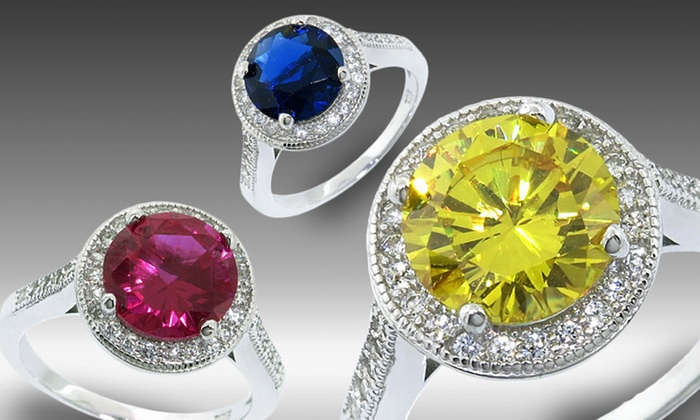 Colored CZ Sterling Silver Halo Rings: $18.99 for a Colored CZ Sterling Silver Halo Ring ($129.99 List Price). Multiple Styles. Free Shipping and Returns.