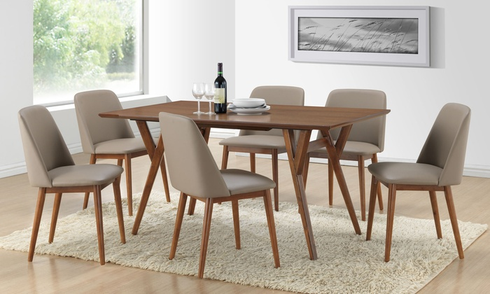 modern dark walnut finish wood dining set with table and 6 chairs