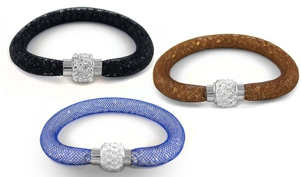 Austrian Crystal Women's Mesh Bracelets in Brass
