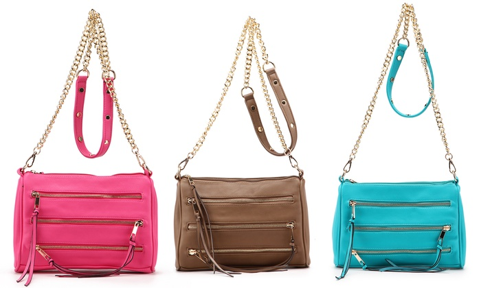 Three-Zip Crossbody Purse