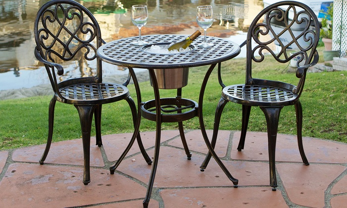 Up to 17 off on palermo bistro set 3 piece groupon goods for Best deals on patio furniture sets