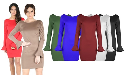 DeepBack PeplumSleeved Bodycon Dress in Choice of Colour