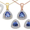 Tanzanite and White Topaz Trillion Jewelry Set