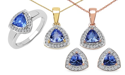 Tanzanite and White Topaz Trillion Jewelry Set with Ring, Pendant, and Earrings