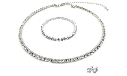 3-Piece Necklace, Bracelet, and Earrings Set with Swarovski Elements