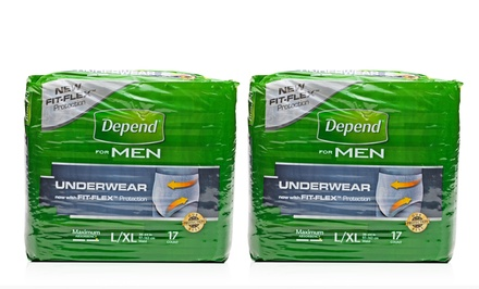 Depend for Men Maximum Absorbency Underwear; 2-Pack of 28 ct. Bags + 5% Back in Groupon Bucks. Large/Extra Large Size.