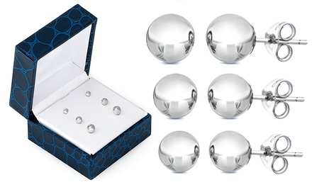14K White Gold Ball Stud Earrings (3-Pairs)