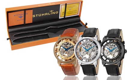 Stuhrling Original Men's Skeleton Automatic Watch. Multiple Styles Available. Free Returns.