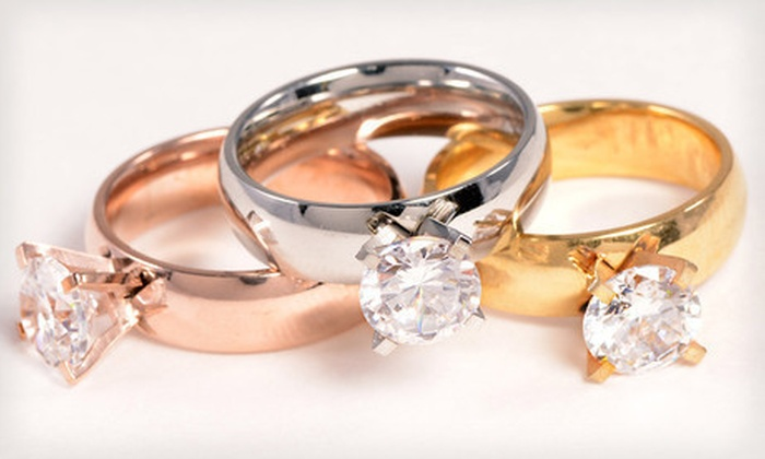 $9 for a Set of Three Simulated Diamond Rings ($69 List Price). Seven Sizes Available. Free Shipping.