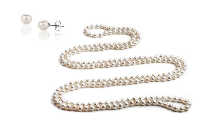 """100"""" Genuine Freshwater Pearl Necklace with Free Pearl Stud Earrings: 100"""" Genuine Freshwater Pearl Necklace with Free Pearl Stud Earrings"""