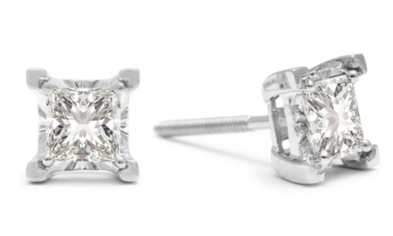 1.00 CTTW Princess-Cut Genuine Diamond Stud Earrings in White Gold
