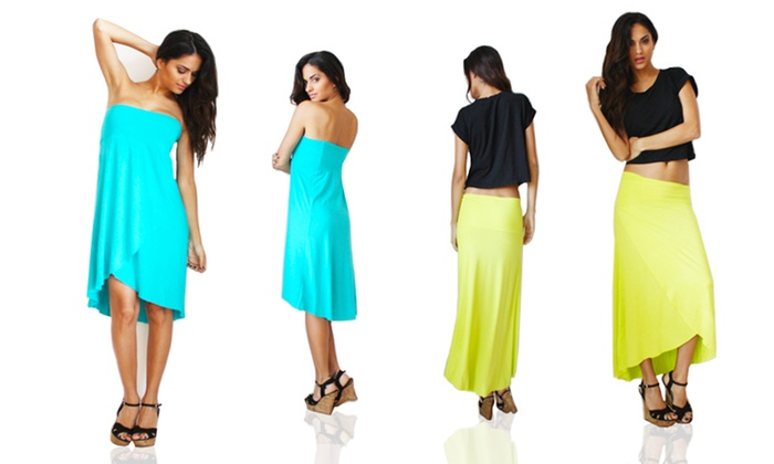 OhConcept Convertible Skirt to Dress: OhConcept Convertible Skirt to Dress in Turquoise or Yellow