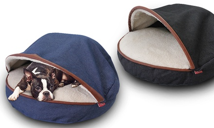 Denim Cave Pet Bed with Plush Interior