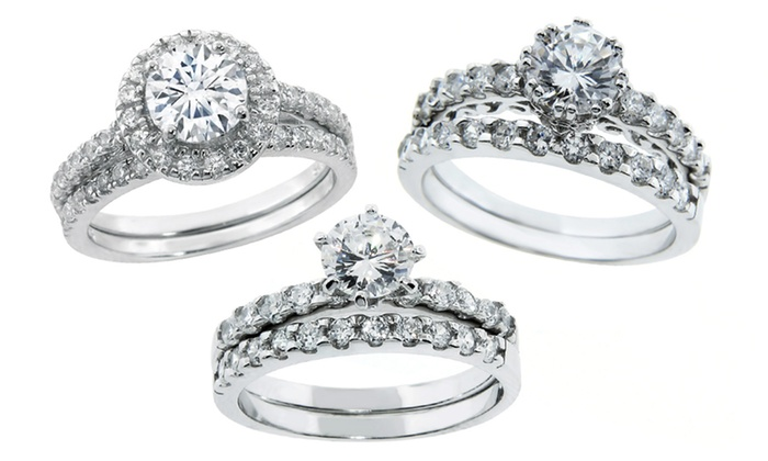 2 Piece Cubic Zirconia Engagement Ring Set In Sterling Silver