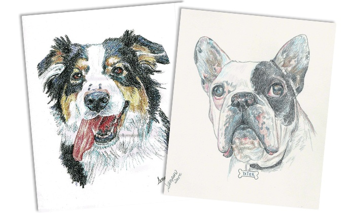 """Debbie Sampson Pet Artist - Debbie Sampson Pet Artist: 11""""x14"""" Black-and-White or Color Pencil Pet Portrait from Debbie Sampson Pet Artist (Up to 55% Off)"""