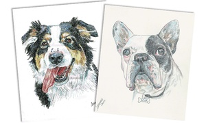 "Debbie Sampson Pet Artist: 11""x14"" Black-and-White or Color Pencil Pet Portrait from Debbie Sampson Pet Artist (Up to 46% Off)"