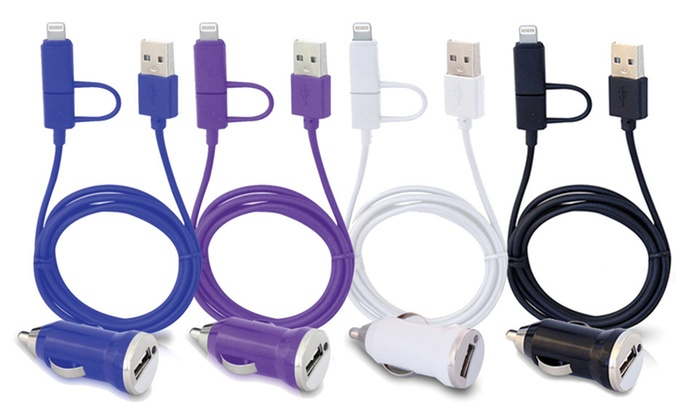 3Ft. MFi-Certified 2-in-1 USB Charge & Sync Cable with Car Charger
