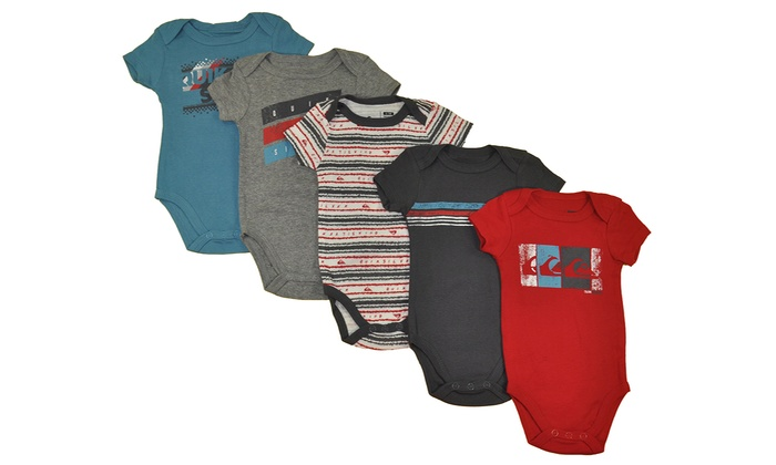afa041831 Quiksilver Baby Boys' Short-Sleeve Bodysuits (5-Pack)