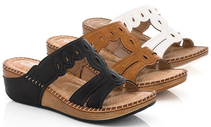 Lady Godiva Comfort Wedge Sandal Groupon Goods