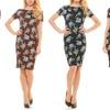 Seranoma Women's Short-Sleeved Knee-Length Floral Pencil Dress