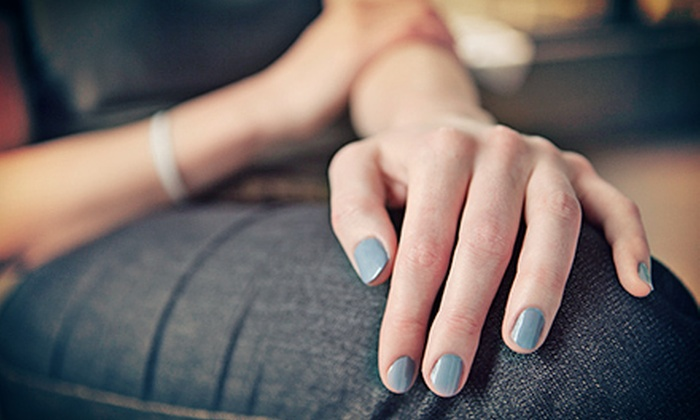 Angel Tips - Multiple Locations: Regular or Gel Manicure, Lemon Pedicure, and Eyebrow, Lip, or Chin Wax at Angel Tips (Up to 57% Off)