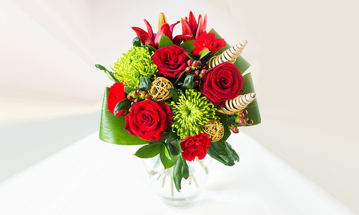 Christmas flower bouquet groupon